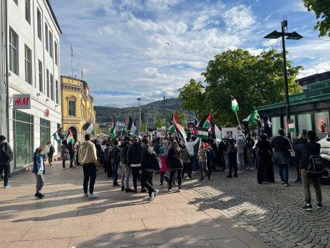 Demonstrasjonen startet på Strømsø torg før de gikk over til Bragernes torg.