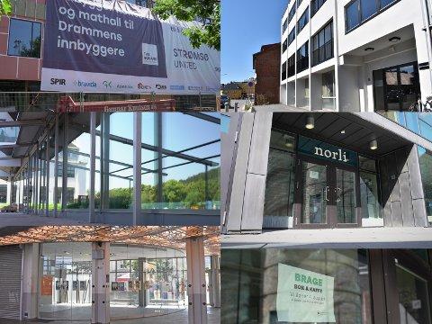 NYE STEDER: Dette er noen av de nye spisestedene og kafeene som skal åpne i Drammen de neste månedene. Mathallen (øverst t.v.), Pizza Maestro (midten t.v.), nye Jovialen på Drammen stasjon (nederst t.v.), Istanblu (øverst t.h.) og Brage bok & kaffe på biblioteket (nederst t.h.)