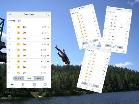 TROPEVARME: Lørdag blir Drammen varmere enn mange andre europeiske byer.