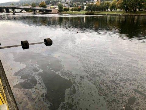 Onsdag formiddag kunne man tydelig se en film på overflaten av Drammenselva.