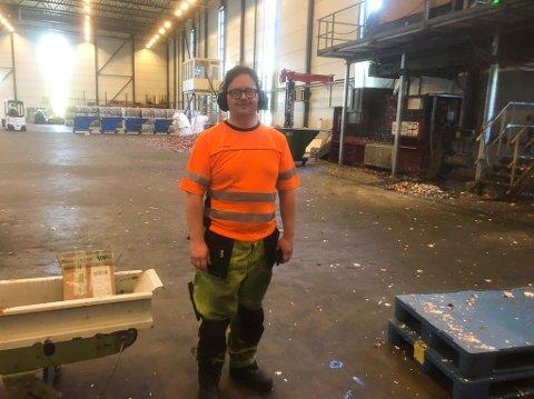 Birger Torgersen på jobb hos Infinitum på Fetsund.
