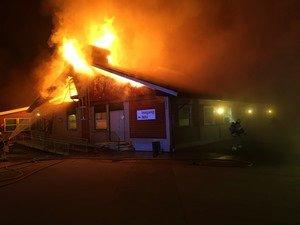 Øst politidistrikts bilde av brannen på tidlig stadium.