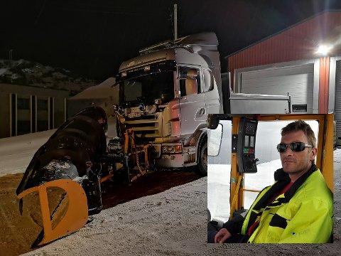 Børge Pettersen (innfelt) er innehaver av firmaet B. Pettersen Maskin AS. Nå skal han brøyte veiene i fiskeværene på Magerøya i den kommende kontraktsperioden.