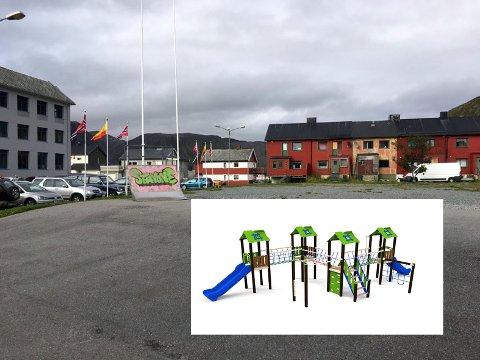 Bildet viser apparatet som blir montert på Rådhusplassen.
