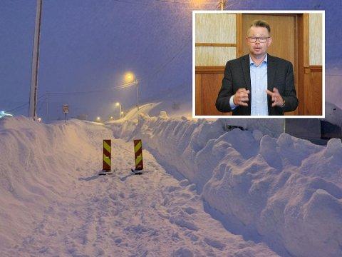 OVERVÅKER SITUASJONEN: Kommunen samarbeider med etatene om situasjonen i Nordkapp. Bildet er fra Holmbuktveien.