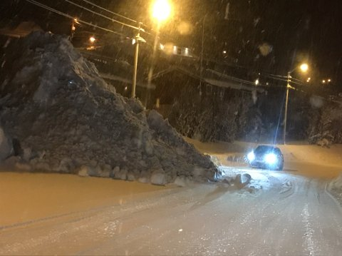 Snømengder i Honningsvåg.