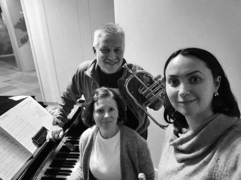 Per Inge Jensen, Olga Jusupova-Nilsen og Asta Voldikiene holder konsert på Nordkapp Helsesenter i neste uke.