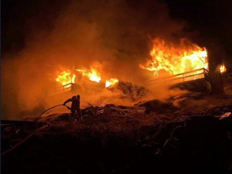 Bildet er tatt av Nordkapp Brann og redning og viser en øvelse ved Lagunvannet i 2019.