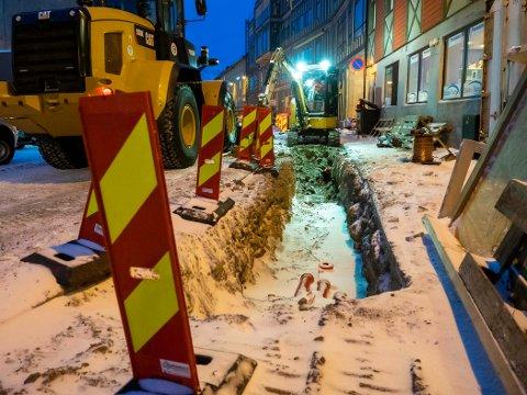 SNART FRAMME: Fredag var arbeidet framme ved nybygget i Sjøgata.