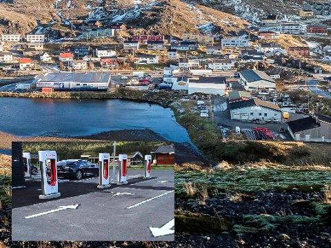 TIL STORBUKT?: Verdens nordligste Tesla Supercharger kommer til Nordkapp i løpet av første halvdel av 2021. Trolig blir stasjonen etablert i  nærheten av Rema 1000 og Shell i Storbukt.