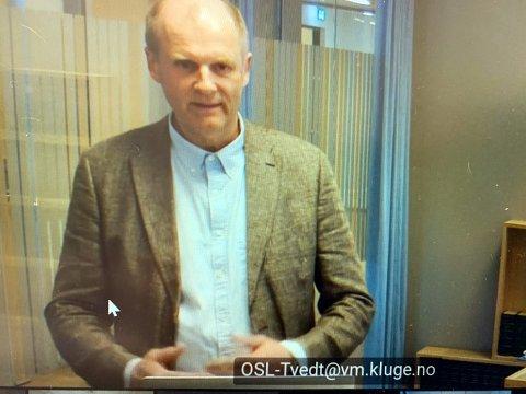 Einar Arild Hauge forklarte seg over lyd/bilde i Hammerfest Tingrett på mandag.