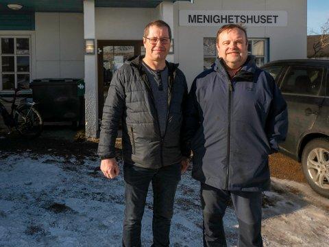 SAMARBEID: Menighet og kommune samarbeider om åpne frivillighetssentral i Nordkapp i august. Menighetsrådsleder Thorgeir Walsøe (t.v) og kirkeverge Reidar Johansen gleder seg.