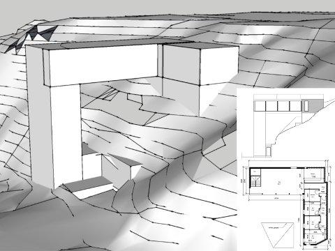 UVANLEG: Eit 14 meter høgt hus i ein temmeleg så bratt skråning. Dette kan no bli realisert, etter at Flora kommune har gjeve dei naudsynte dispensasjonane til sivilarkitekt Jon Eirik Fjørtoft.