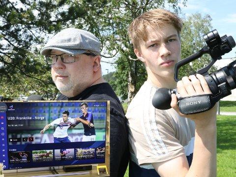 PÅ TV: Denne sesongen får du kommentator Arne Hjorth Johansen og kameramann Oskar Gjervik rett inn på Smart-TVen din, via den nye appen til Firdaposten og Direktesport.
