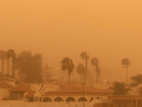CALIMA: Slik såg det ut frå hotellvindauget til Dan og Linda Solberg søndag, då sandstormen frå Sahara råka Tenerife. På neste bilde ser du korleis det ser ut dagen etter.