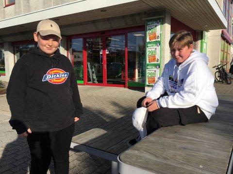 DEI HANDLAR FOR DEG: 13-åringane Isak Eide Kristiansen (t.v.) og Tobias Nikolai Korneliussen vil gjerne hjelpe deg med innkjøp og ærend om du slit med å få gjort det i desse koronatider.