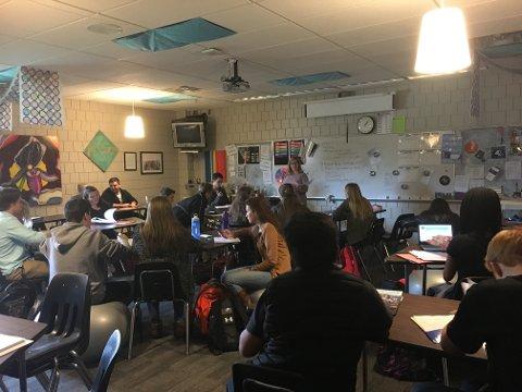 KLASSEROMMET: Slik ser det ut i eit amerikansk klasserom.