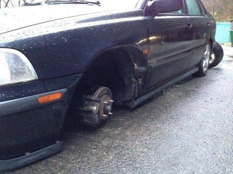 MANGLAR: Hjulet forsvann plutseleg inne i Hovdetunnelen.
