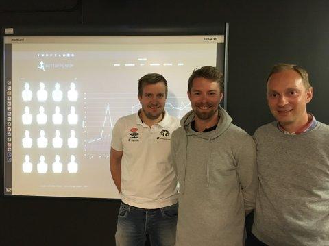 NØDG GJENG: Mikkel Frodahl (midten) har fått utdelt pengestøtte frå Forskningsrådet. Egil Mundal (venstre) og Vegard Fusche Moe ved Sogndal Fotball er glade for det.
