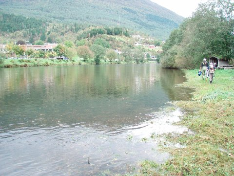 RYDDAST: Jølstra er ei av sju elvar i fylket der det skal fiskast ut rømd oppdrettsfisk.