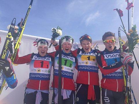 PÅ PALLEN: Herman Martens Meyer, Jon Rolf Skamo Hope, Harald Østberg Amundsen, og Thomas Helland Larsen.