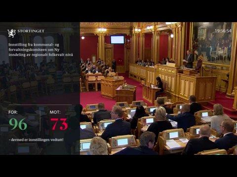 VEDTAKET: Her, om kvelden 8. juni,  avgjorde stortingsfleirtalet at Sogn og Fjordane skal slåast saman med Hordaland.