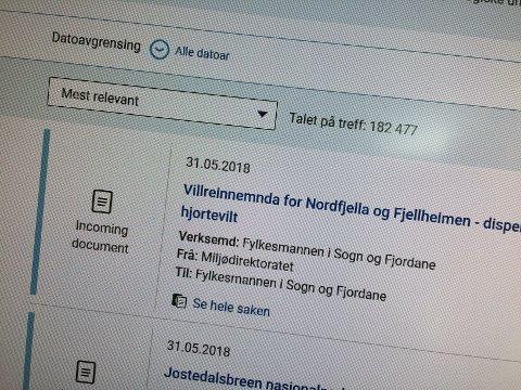 INNSYNET I PRAKSIS: Fylkesmannens offentlege postliste inneheldt onsdag ikkje dokument som er nyare enn 31. mai. Skjermdump.