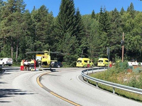 DØDSULYKKE: Bilete frå trafikkulykka i Stryn tysdag 10. juli.