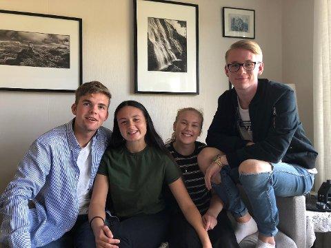 ARRANGØRAR: F.v.  Trym Helle, Maren Myklebust, Elise Hovland, Heiki Hauge er spente på fredagens Flekkefest, som har fått dobbelt så stor repons som i fjor.