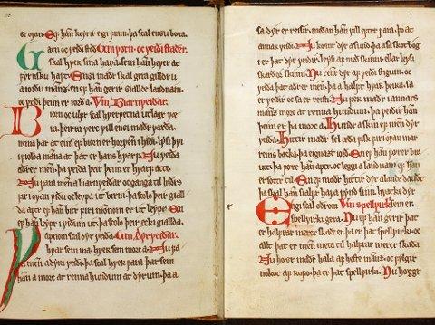PÅ NETT: Det einaste komplette manuskriptet av Gulatingslova er frå siste halvdel av 1200-talet og er no gjort tilgjengeleg digitalt.