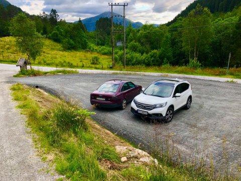 PARKERINGSPLASS: Parkeringspalssen på det populære turområdet har palss til 10-12 bilar.