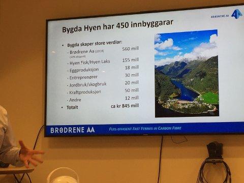 VERDIAR: Med sine ca. 450 innbyggjarar skaper dei ulike næringane i Hyen verdiar for ca. 845 millionar pr. år og kanskje endå meir, skriv artikkelforfattaren.