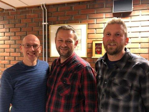 SKAL SAMARBEIDE: Leif Jarle Espedal (Ap), Kjetil Felde (Sp) og Joakim Janninge (SV).