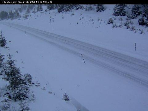 WEBKAMERA: Statens vegvesen sitt webkamera på Utvikfjellet tok dette bildet like før klokka 17 i ettermiddag.
