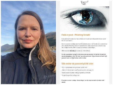 SVINDEL: Christiane Ulriksen i Enivest åtvarar kundane sine om svindelforsøk på mail.