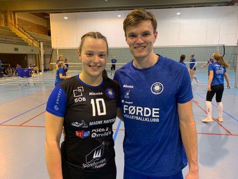 SATSAR: 19-åringane Dorthea S. Tvinde og Eirik Molland viar mykje tid og energi til volleyballen. Frå laurdag av vil dei spele på kvart sitt eliteserielag.