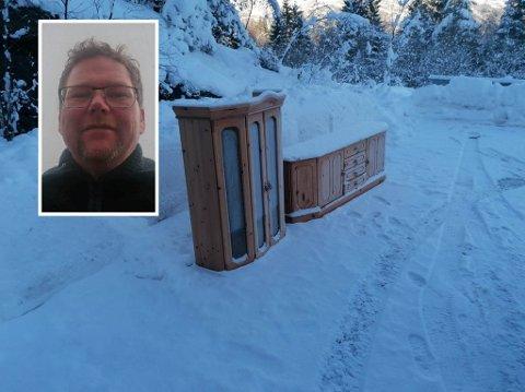 EI HALV STOVE: Dette synet møtte Øystein Jagedal ved parkeringsplassen opp til Brandsøyåsen.