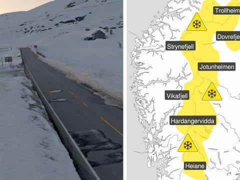 KALDT: Eit lågtrykk frå nord gjer at meteorologane meiner det kan vere lurt å halde på vinterdekka ei lita stund til. Her frå fv53 Årdal-Tyin tysdag morgon.