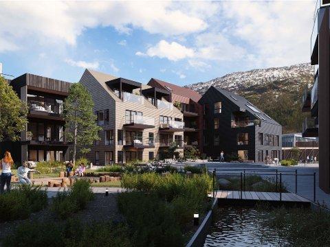 UTE FOR SAL: Skudeløken er den planlagde nye bydelen i Førde, nord for Øyrane vgs. Bustadprosjektet er etablert i tre trinn, kor leilegheitene i det første no ligg ute for sal.