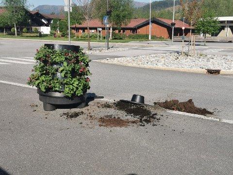 RASERT: Sunnfjord kommune brukar fleire hundre tusen kroner årleg på å pynte opp sentrumsområda sine. Laurdag kveld vart blomekassane på Sande rasert.