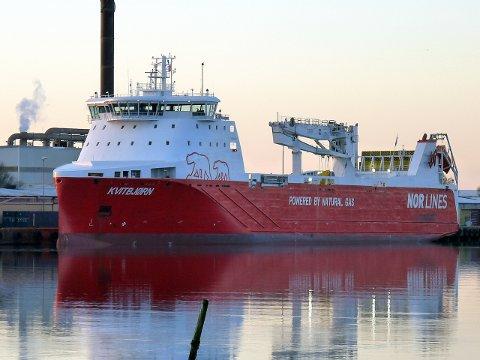 FINT BESØK: «MS Kvitbjørn» er regnet for å være verdens mest miljøvennlige godsskip.