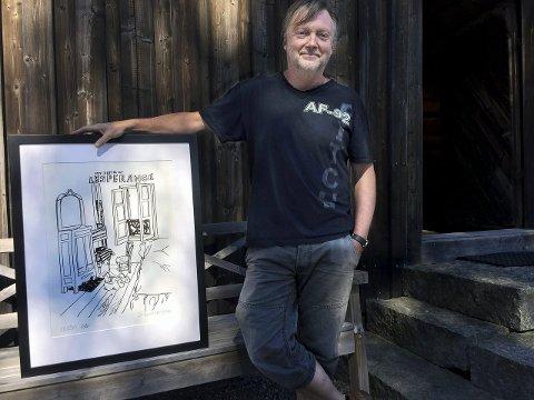 Litografi: Ole Dørje ved Soli Brug med ett av litografiene til Pushwagner.