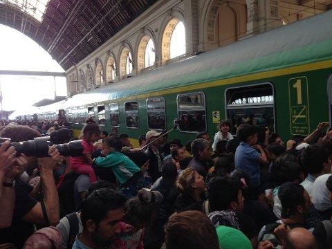 Komplett kaos: Roy Freddy Andersen forteller om et komplett kaos på togstasjonen i Ungarn.