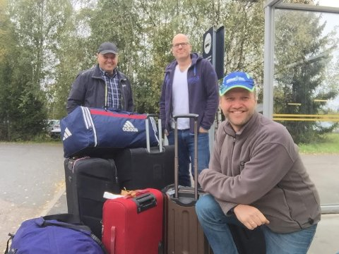 HAITI: Peter Kristianslund, Jens S. Pedersen og Olav Røyneberg satte onsdag kursen for Haiti. (Foto: Privat)
