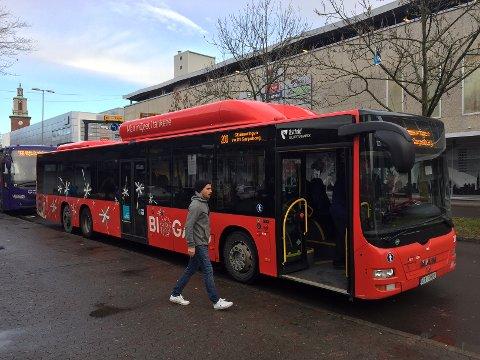 Blir dyrere for månedskort: For 700 kroner per måned kan en voksen kjøre buss i hele Østfold. For reiser i Nedre Glomma blir prisen 600 kroner.  (Arkivfoto: Øivind Lågbu)