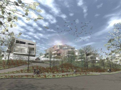25 LEILIGHETER: Slik kan leilighetsprosjektet se ut fra Traraveien når det er ferdig utbygd.