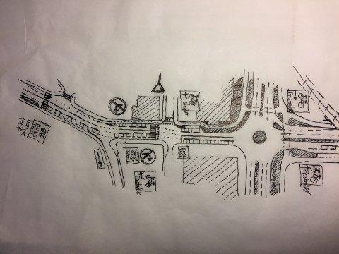 Illustrasjon til forslagene som er beskrevet i teksten. Rundkjøringen i St.Croix-krysset til høyre på bildet, mens St.Croixgate går til venstre mot sentrum. Tegning: Tor Jørgensen