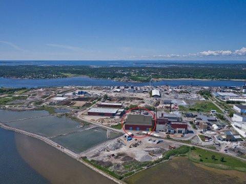 MILLION-BYGG: Tilbygget ved siden av dagens Frevar-anlegg på Øra, som vil bli et av Norges mest moderne i sitt slag. 6.000 kvadratmeter bygning vil stå på en 10 mål stor tomt.
