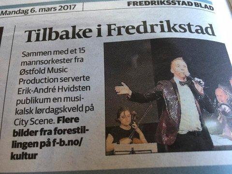 Fredriksstad Blad mandag. Konserten var omtalt med en kort tekst og henvisning til bilder fra forestillingen på f-b.no.
