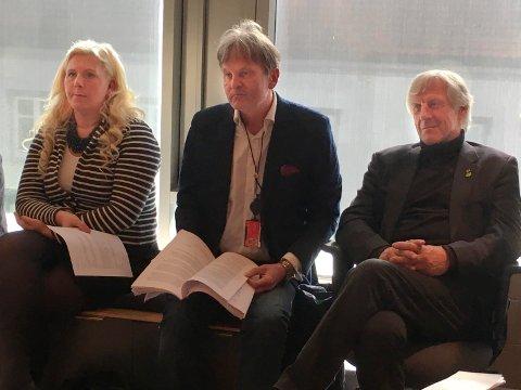 KANDIDATEN: Bystyret skal 4. mai velge ny kontrollutvalgsleder. Rune Grunekjøn er den som vil bli foreslått som kandidat fra Høyre. Her mellom Anita Vik (Frp) og Henning Aall (MDG) under onsdagens møte.